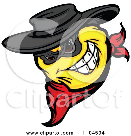Clipart Yellow Smiley Emoticon Bandit Grinning And Wearing A Bandana - Royalty Free Vector Illustration by Chromaco
