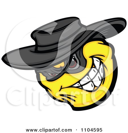 Clipart Yellow Smiley Emoticon Bandit Grinning - Royalty Free Vector Illustration by Chromaco