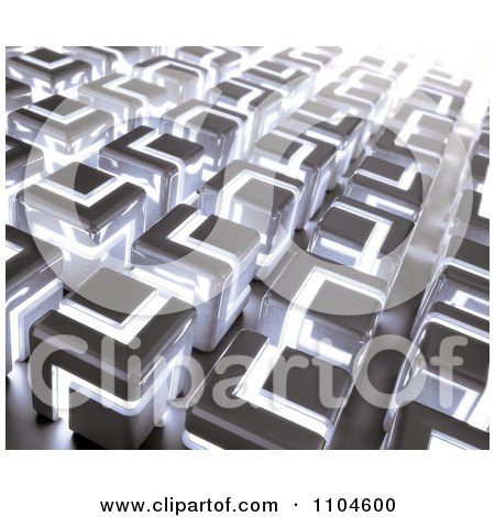3d Background Of Glowing Cubes Posters, Art Prints
