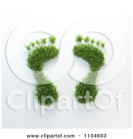 Clipart 3d Grassy Foot Prints - Royalty Free CGI Illustration by Mopic