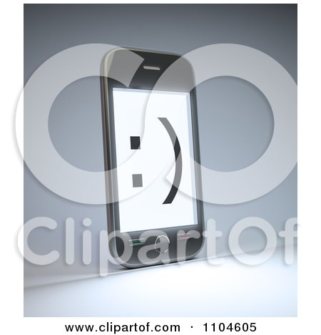 Clipart Smiley Face On A 3d Smartphone Screen - Royalty Free CGI Illustration by Mopic