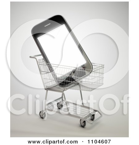 Clipart 3d Smartphone In A Shopping Cart 1 - Royalty Free CGI Illustration by Mopic