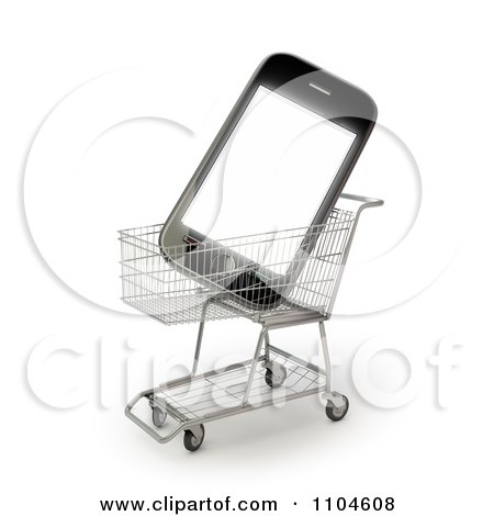 Clipart 3d Smartphone In A Shopping Cart 2 - Royalty Free CGI Illustration by Mopic
