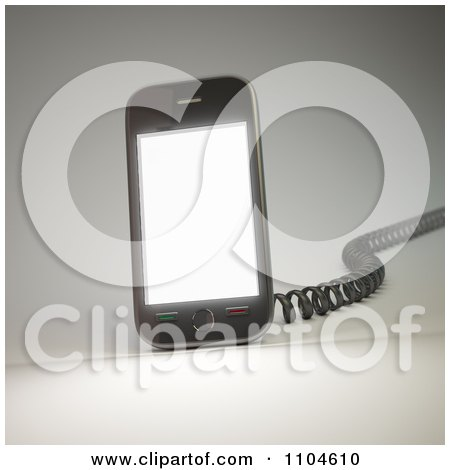 Clipart 3d Smartphone With A Charging Cord 2 - Royalty Free CGI Illustration by Mopic