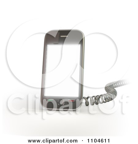 Clipart 3d Smartphone With A Charging Cord 1 - Royalty Free CGI Illustration by Mopic