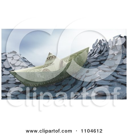 Clipart 3d Money Boat Floating On Coin Waves - Royalty Free CGI Illustration by Mopic