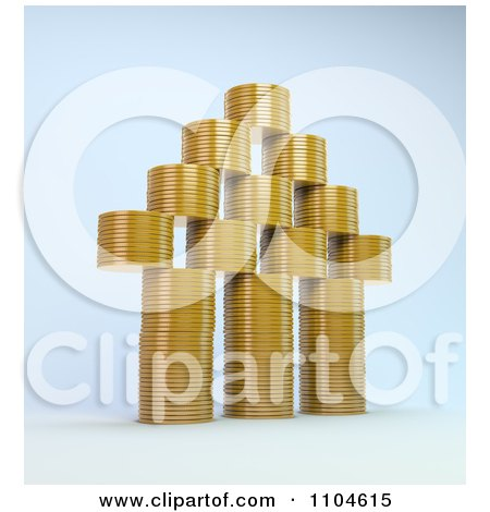 Clipart 3d House Made Of Stacked Gold Coins - Royalty Free CGI Illustration by Mopic