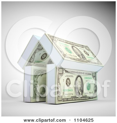 Clipart 3d House Made Of Stacks Of Cash - Royalty Free CGI Illustration by Mopic