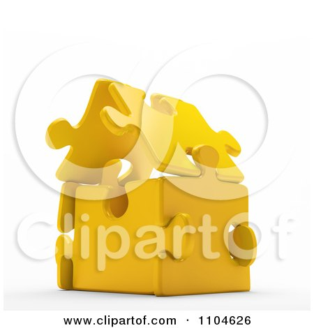 Clipart 3d Gold Puzzle Piece House - Royalty Free CGI Illustration by Mopic