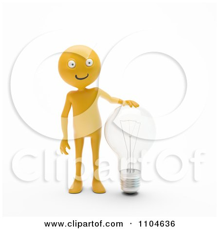 Clipart 3d Orange Person Standing With A Clear Light Bulb - Royalty Free CGI Illustration by Mopic