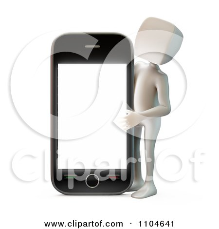 Clipart 3d White Person Holding Up A Smartphone 2 - Royalty Free CGI Illustration by Mopic