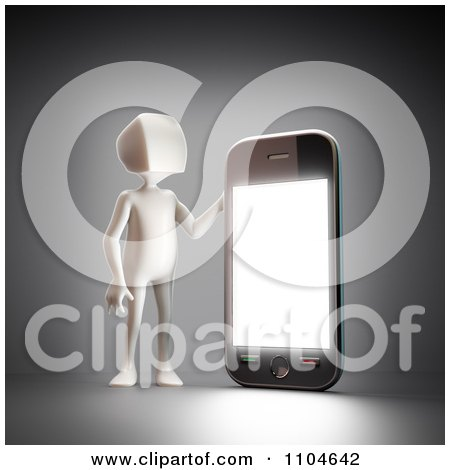 Clipart 3d White Person Holding Up A Smartphone 3 - Royalty Free CGI Illustration by Mopic