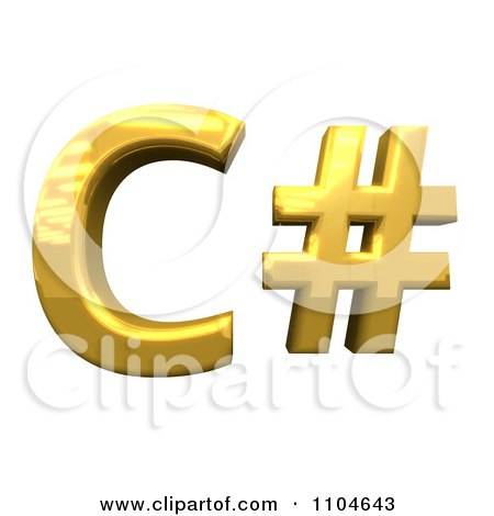 Clipart 3d Gold C-Sharp Programming Language Symbol - Royalty Free CGI Illustration by Leo Blanchette