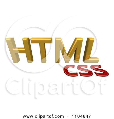 Clipart 3d Gold And Red HTML CSS Style Sheet Language - Royalty Free CGI Illustration by Leo Blanchette