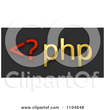 Clipart 3d Red And Gold Php Scripting Language On Black - Royalty Free CGI Illustration by Leo Blanchette