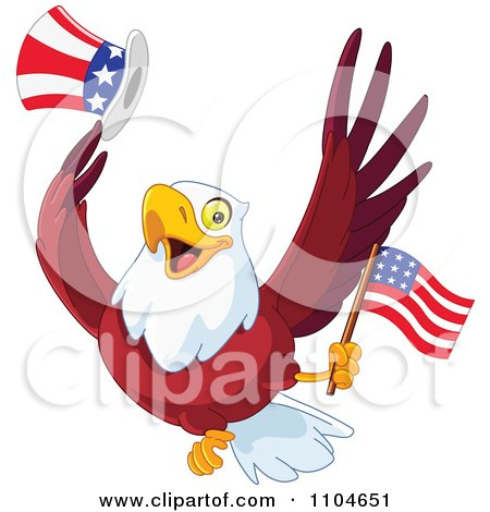 Clipart Happy American Bald Eagle With A Top Hat And Flag - Royalty Free Vector Illustration by yayayoyo