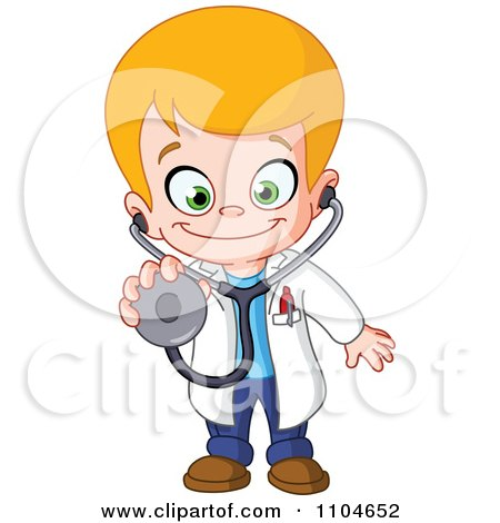 Clipart Happy Blond Doctor Boy Holding Out A Stethoscope - Royalty Free Vector Illustration by yayayoyo