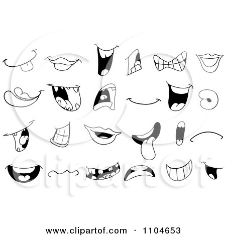 Clipart Black And White Mouths And Lips - Royalty Free Vector Illustration by yayayoyo