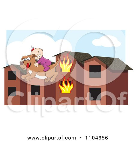 Clipart Rescue Dog With A Baby On Its Back Leaping From A Burning Building Over A Partial Sky Background - Royalty Free Vector Illustration by David Rey