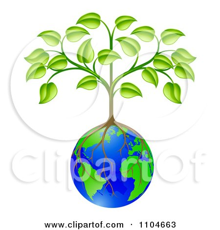 Clipart Sapling Tree Growing Roots Over A Globe - Royalty Free Vector Illustration by AtStockIllustration