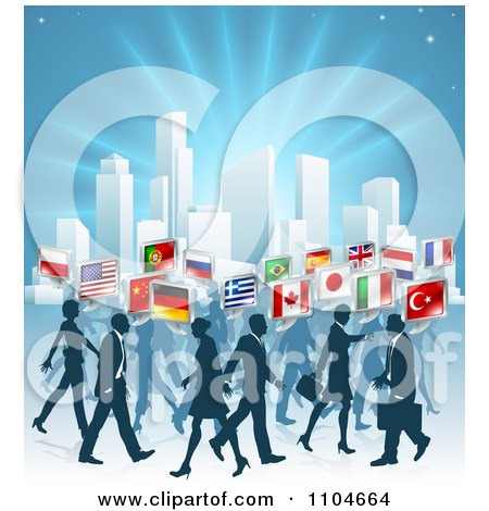Clipart International Business People With Flag Chat Balloons Walking By A City Over Blue - Royalty Free Vector Illustration by AtStockIllustration