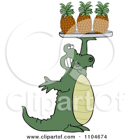 Clipart Alligator Serving Pineapple On A Tray - Royalty Free Vector Illustration by djart