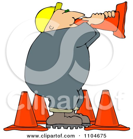 Clipart Road Construction Worker Talking Through A Cone - Royalty Free Vector Illustration by djart