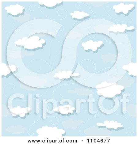 Clipart Seamless Puffy Cloud Wind And Blue Sky Background Pattern - Royalty Free Vector Illustration by dero