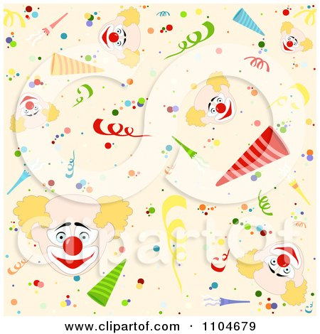 Clipart Seamless Party Clown Background Pattern - Royalty Free Vector Illustration by dero