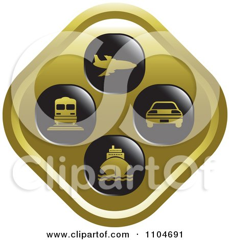 Clipart Gold Travel And Transportation Icon - Royalty Free Vector Illustration by Lal Perera