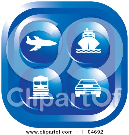 Clipart Blue Travel And Transportation Icon - Royalty Free Vector Illustration by Lal Perera