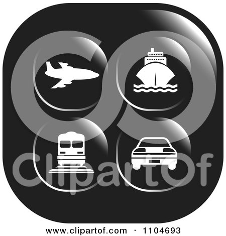 Clipart Black And White Travel And Transportation Icon - Royalty Free Vector Illustration by Lal Perera