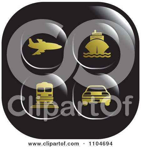 Clipart Black And Gold Travel And Transportation Icon - Royalty Free Vector Illustration by Lal Perera