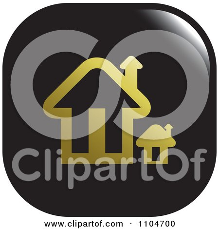 Clipart Black And Gold Home Page Or House Icon - Royalty Free Vector Illustration by Lal Perera