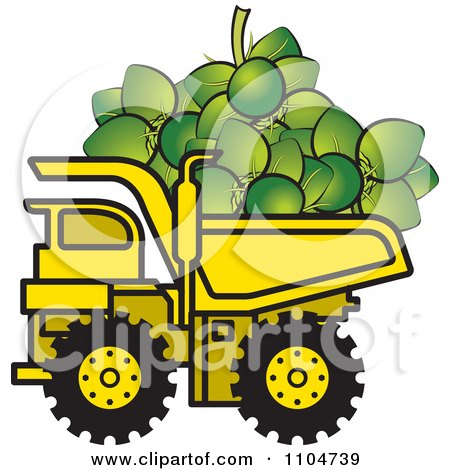 Clipart Yellow Dump Truck Hauling Coconuts Royalty Free