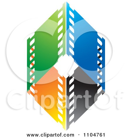 Clipart Green Blue Black And Orange Film Strips Formign A Diamond - Royalty Free Vector Illustration by Lal Perera