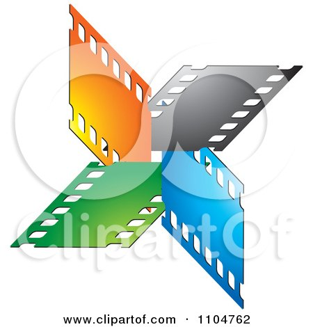 Clipart Orange Black Blue And Green Film Strips - Royalty Free Vector Illustration by Lal Perera