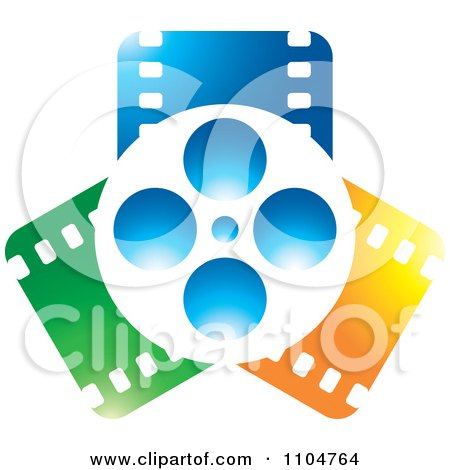 Clipart Movie Film Reel And Blue Orange And Green Strips - Royalty Free Vector Illustration by Lal Perera