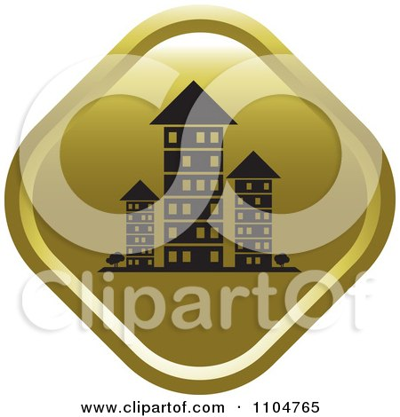 Clipart Gold Investment Property Apartment Building Icon - Royalty Free Vector Illustration by Lal Perera