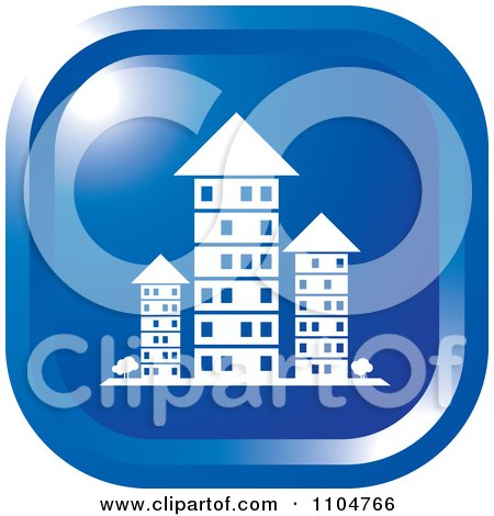 Clipart Blue Investment Property Apartment Building Icon - Royalty Free Vector Illustration by Lal Perera