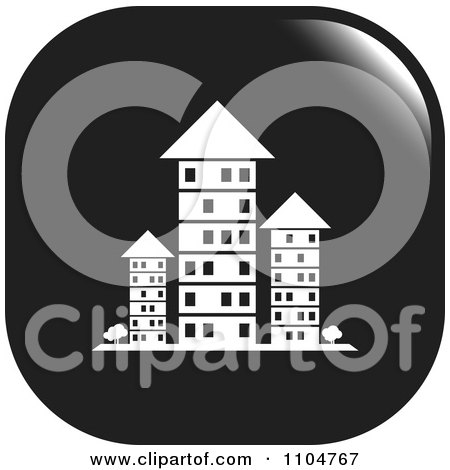 Black And White Investment Property Apartment Building Icon