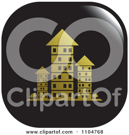 Clipart Black And Gold Investment Property Apartment Building Icon - Royalty Free Vector Illustration by Lal Perera