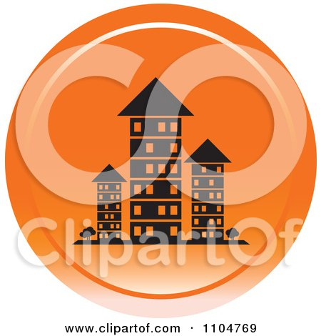 Clipart Orange Investment Property Apartment Building Icon - Royalty Free Vector Illustration by Lal Perera