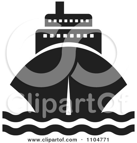 Clipart Black And White Cruise Ship - Royalty Free Vector Illustration by Lal Perera