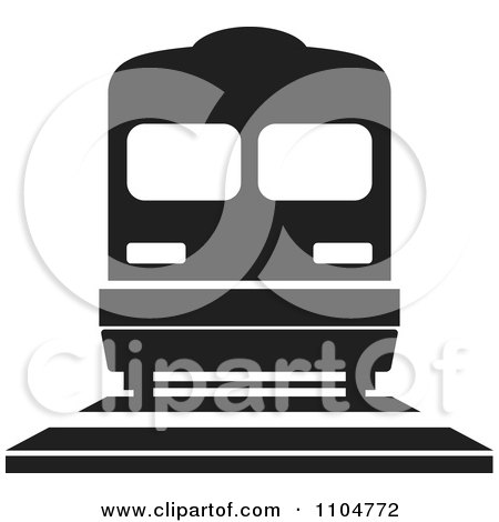 Clipart Black And White Train - Royalty Free Vector Illustration by Lal Perera