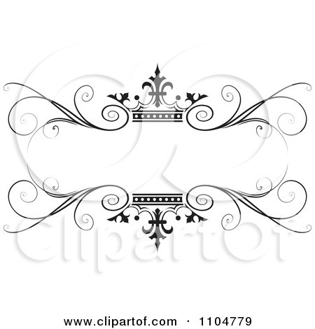 Clipart Ornate Black Swirl And Crown Wedding Frame - Royalty Free Vector Illustration by Lal Perera