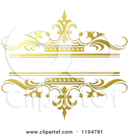 Clipart Ornate Gold And Crown Wedding Frame - Royalty Free Vector Illustration by Lal Perera