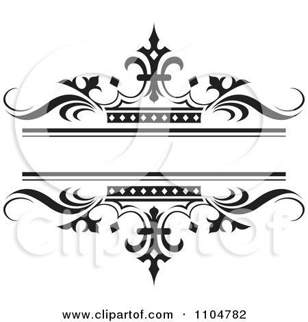 Clipart Ornate Black Wave And Crown Wedding Frame - Royalty Free Vector Illustration by Lal Perera