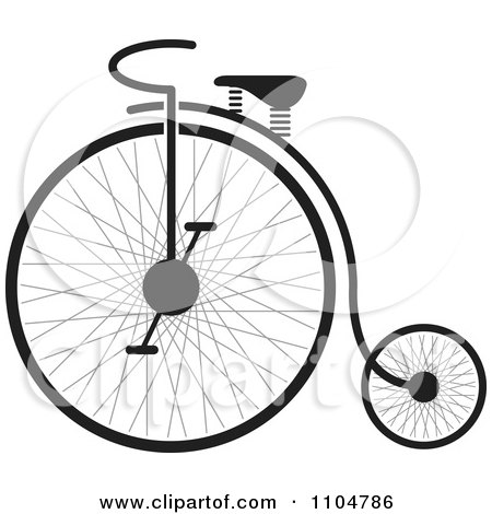Clipart Black And White Penny Farthing Bike - Royalty Free Vector Illustration by Lal Perera