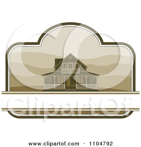 Clipart Country Farm House With Hills And Copy Space In A Border - Royalty Free Vector Illustration by Lal Perera